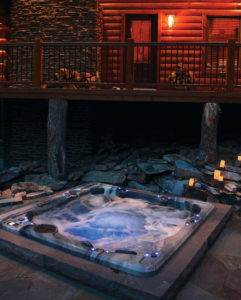 Cabin hot tub at night