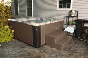 Backyard Hot Tub with steps